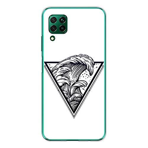 BJJ SHOP Custodia Trasparente per [ Huawei P40 Lite ], Cover in Silicone Flessibile TPU, Design: Triangolo del Tatuaggio con Le Onde