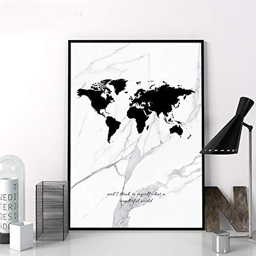 yaoxingfu Nessuna Cornice Marble World Do Map Canvas Stampa Artistica su Muro Poster nordici e Stampe Immagini a Parete per Soggiorno Immagini di Decorazione 50x70cm