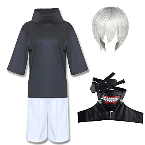 Daiwen Tokyo Ghoul Cosplay Kaneki Ken Costume Cosplay, Japan Anime Ken Kaneki Halloween Uniform Outfit con Parrucca e Maschera