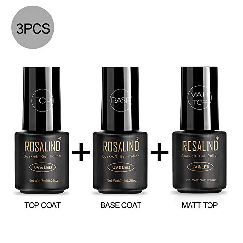 ROSALIND Top Base Matt Coat Semipermanenti, Smalto Semipermente per Unghie in Gel UV LED