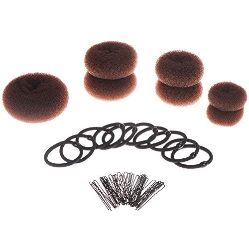 7 donut capelli, chignon, anello stile chignon set marrone (1 XL + 2 + 2 + 2 piccola media) con 10 elastici per capelli con grandi e 40 mollette per capelli, capelli ciambella per chignon capelli