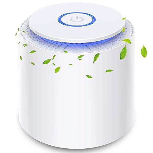 Purificatore d'aria Portatile con Filtro HEPA, USB Desktop Filtro dell'aria con Luce Notturna e Funzione di Aromaterapia, Rimuovere Polvere, Fumo, Odore, Peli di Animali Domestici, per Casa, Ufficio