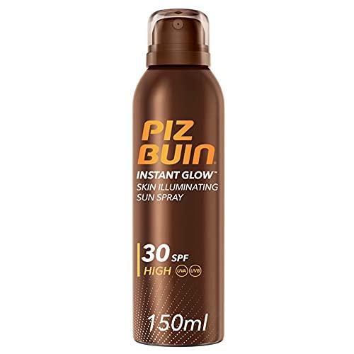 PIZ BUIN, Spray Illuminatore della Pelle, Instant Glow, 30 SPF, Protezione Alta, Assorbimento Rapido, Non Contiene Autoabbronzante, 150ml