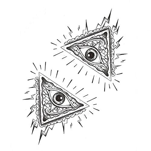 5 fogli Eye Of God Sky Eye Tattoo Sticker impermeabile uomini e donne creativi adesivi tatuaggio triangolo duraturo