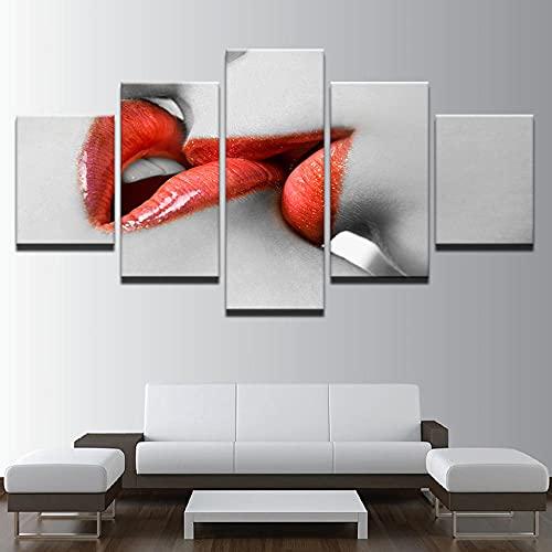 ERSHA Stampe E Quadri su Tela 5 Pezzi Tela Wall Art Murale Quadri Moderni Soggiorno XXL Casa Decor Regalo Creativo|150X80Cm Rossetto Rosso Donna Bacio Labbra Rosse