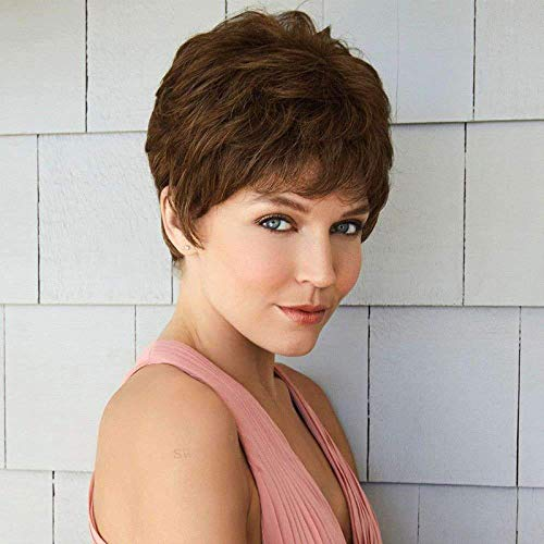 Creamily Parrucche Pixie Breve Parrucche marrone Pixie Cut Ondulato Parrucche Capelli Sintetici per le donne Medio Marrone Scuro