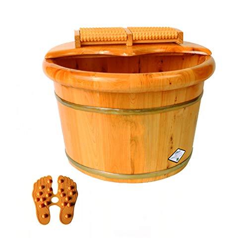 CHY Pedana in Legno Massello, Vasca for Pediluvio in Cedro, Pedicure Bowl Spa Massage  Barilotto del Pediluvio della Famiglia, 26 Centimetri (Color : Natural)
