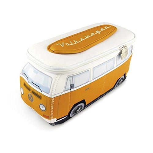 BRISA VW Collection - Volkswagen Hippie Bus T2 Camper Van Borsa Universale 3D da toilette-bagno di Neoprene, Beauty-case da Viaggio, Trousse per trucchi, Porta-pranzo, Valigeria (Arancio/Bianco)