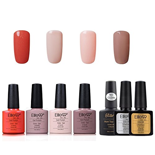 Elite99 Smalto Semipermente per Unghie in Gel UV LED 7pzs Colori con Base Coat Top Coat Lucido Top Coat Matte Kit per Manicure Smalti Gel per Unghie Soak Off - Set 009