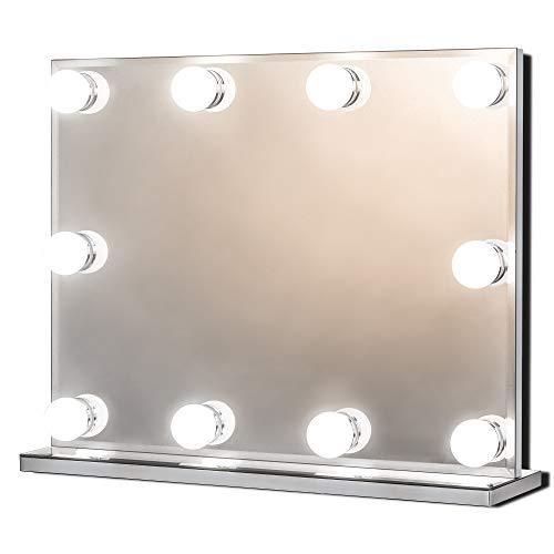 Star Vision Specchio Trucco con Luci, Hollywood Specchio per Make up, Grande Specchio Illuminato Professionale con 10 Lampadine LED Luminoso e Dimmerabili per Toeletta, Multiple modalità di Colore