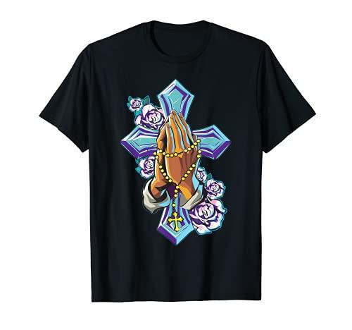 Croce Pregando Mani Gesù Cristo Fede Tatuaggio Chiesa Regalo Maglietta