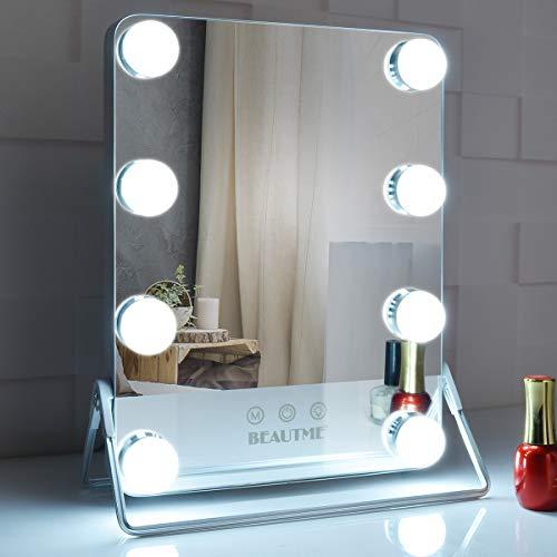 BEAUTME - Specchio cosmetico grande Hollywood con luci, 3 modalità di illuminazione a colori con 8 lampadine dimmerabili, specchio cosmetico illuminato per vestire, rotazione argento