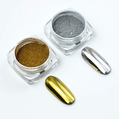 MEILINDS Nail Art Magic Mirror Effect Glitter Chrome Polvere Pigmenti Manicure Trucco Arte fai da te Cromo (Argento Oro)