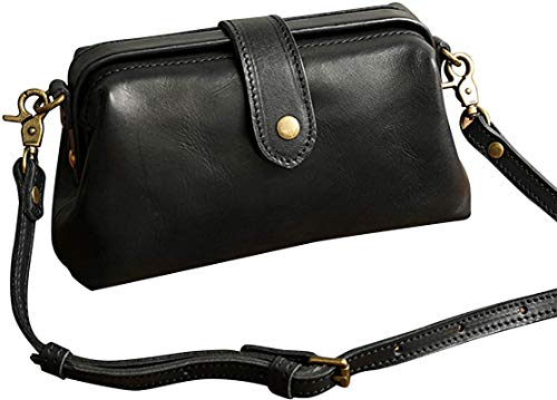 ZGHYBD Premium Leather Retro Handmade Bag Premium Leather Toiletry Travel Pouch with Waterproof Lining for Women Handbag Work Purse Black