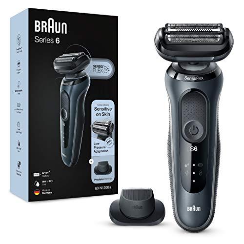 Braun Series 6 60-N1200s Rasoio Elettrico Barba Con Rifinitore Di Precisione, Wet&Dry, Ricaricabile, Rasoio A Lamina Senza Fili, 100% impermeabile, Grigio