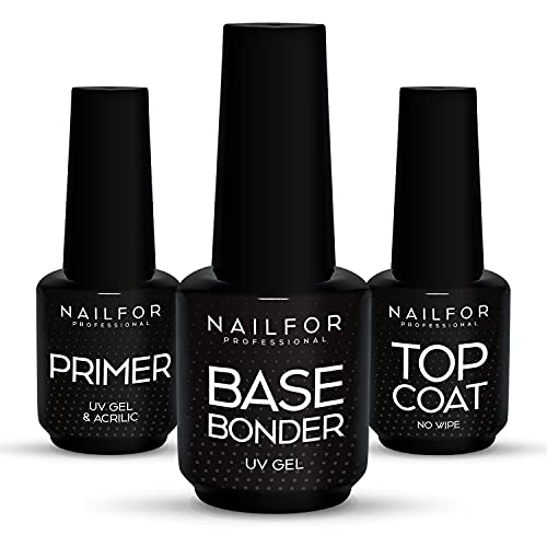 NAILFOR Trio-Primer Base Top Coat Gel Uv Filtro Antigiallo Smalto Semipermanente Ricostruzione Unghie Gel 3x15ml Made In Usa