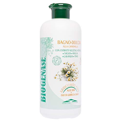 Biogenase Bagnodoccia Camomilla Bagnoschiuma 500 ML - Bagnoschiuma Delicato - Docciaschiuma Naturale per l'Igiene del Corpo - Lascia la Pelle Liscia e Morbida - Azione Lenitiva