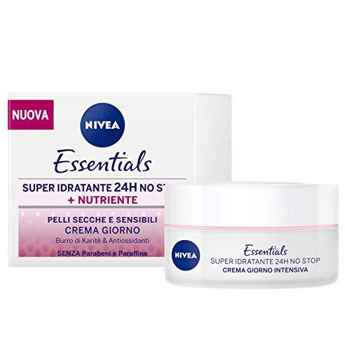 Nivea Essentials Super Idratante 24H Nutriente, Crema Giorno Viso per Pelli Secche e Sensibili, 2 Confezioni da 50 ml
