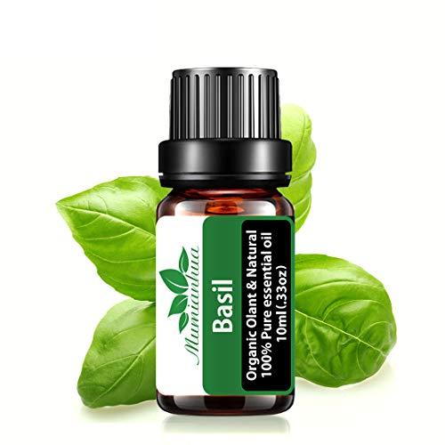 Olio essenziale di basilico biologico, olio profumato al basilico Mumianhua 10ml oli essenziali di basilico puro per aromaterapia, diffusori, umidificatore, produzione di candele, pelle