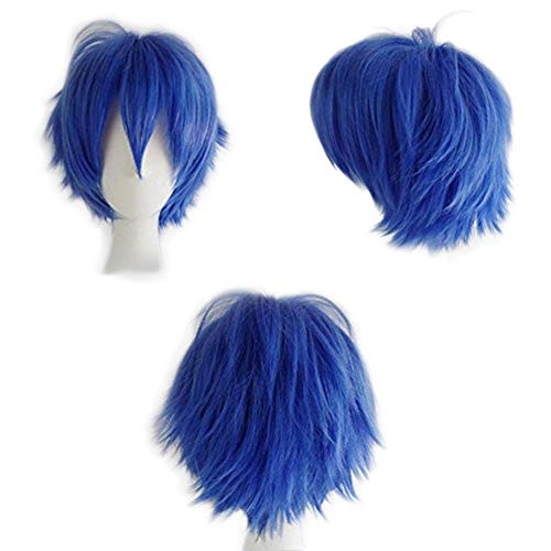 SEGO Parrucca Donna Uomo Blu Corta Cosplay Halloween Parrucche con Frangia 30cm Capelli Sintetici Lisci Azzurri Short Wig Blue Straight Full Head Unisex - Blu Scuro