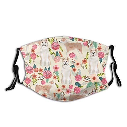 Akita - Mascherina per il viso, multiuso, unisex, motivo floreale, per cani e fiori, color crema, riutilizzabile, per proteggere il passamontagna e lo shopping all'aperto
