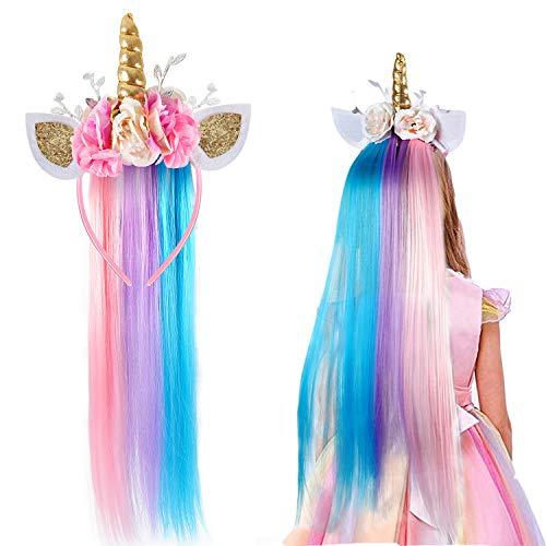 vamei Cerchietto Unicorno con Parrucca Unicorno Bambini Fascia Unicorno Unicorno Vestito Cosplay Forniture per Festa Halloween Carnevale