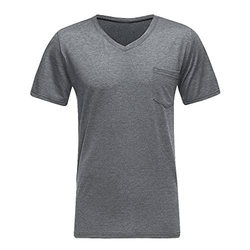 Tee T-Shirt Uomo Top Camicetta Estiva da Uomo Slim Fit Tasca con Scollo a V Fit Manica Corta (XXL,1- Blu Scuro)