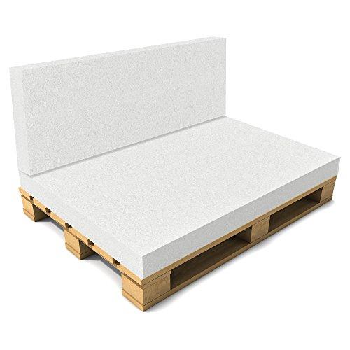[neu.haus] Cuscino Schienale per Pallet Senza Fodera - Foglio Imbottitura per divani - 40 x 120 x 8 cm - Bianco