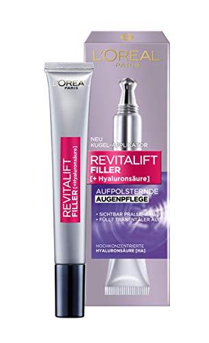 L'Oréal Paris Hyaluron - Crema per occhi Revitalift Filler, anti-età, doppia punta applicatore, con acido ialuronico, 15 ml