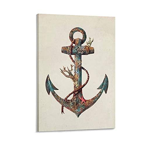 Ancora e stella marina tatuaggio poster pittura decorativa tela di arte parete soggiorno poster camera da letto 20 x 30 cm