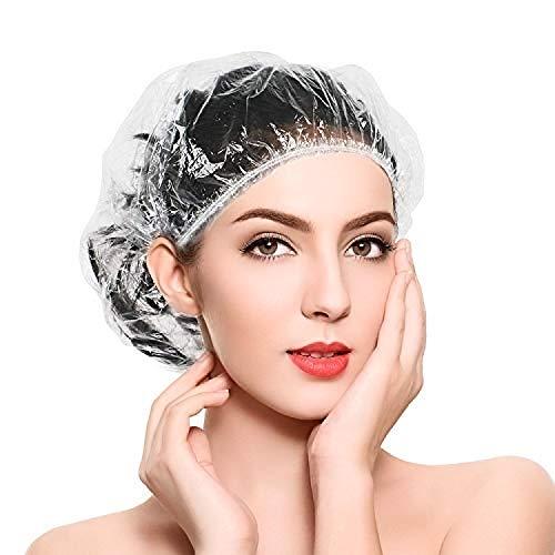 Grande Cuffie Doccia Monouso in Plastica Trasparente Elastica per Casa, hotel, spa, Parrucchiere e Officina 100 Pezzi