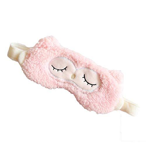 Maschera per il sonno Maschera per gli occhi da viaggio con borsa refrigerante e cinturino regolabile Peluche leggero in morbido cotone per occhi bendati per ragazze maschi 3.9x7.9 pollici Pink