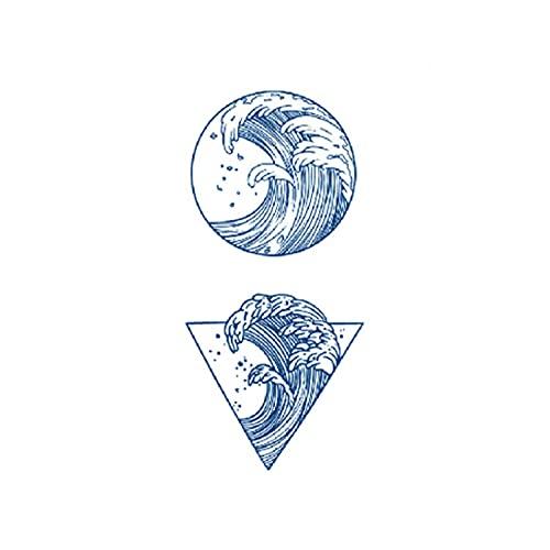 YLGG Adesivi per Tatuaggi alla Moda delle Onde del Mare, Adatti per Uomini e Donne, Rimovibili