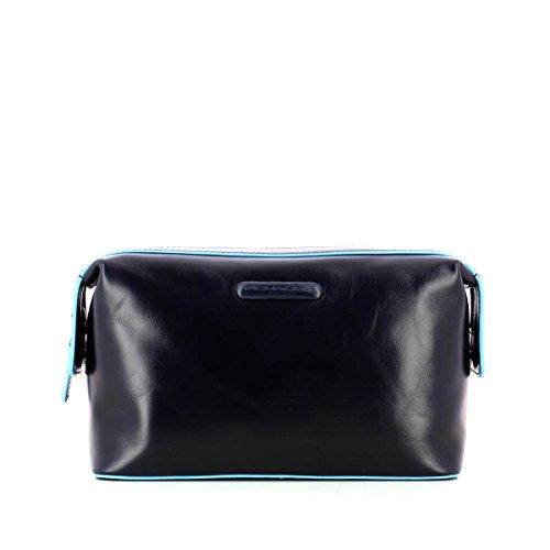 Piquadro Move 2 Beauty Case da Viaggio, Pelle, Blu, 24 cm