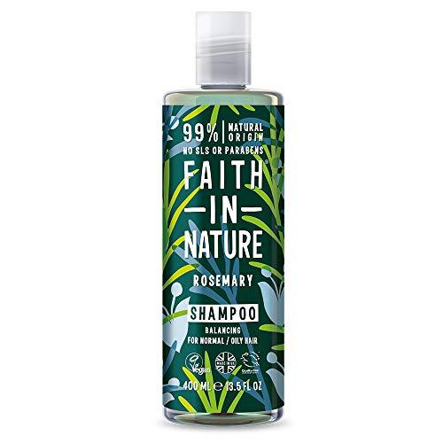 Faith In Nature Shampoo Naturale al Rosmarino, Equilibrante, Vegano, senza Parabeni e senza SLS, non Testato su Animali, per Capelli da Normali a Grassi, 400 ml