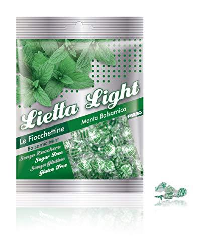Caramelle Farbo Senza Zucchero alla Menta balsamica, Senza glutine, 60 gr - Lietta Light (Confezione da 22 Pezzi)