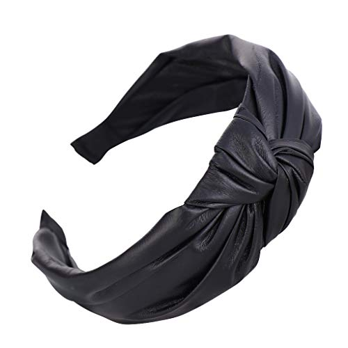 Cerchietto per capelli da donna, in pelle semplice, alla moda, con fiocco, per ragazze