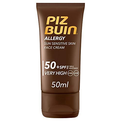 Piz Buin, Crema Solare Viso, Allergy, 50+ SPF, Pelli Sensibili, Filtro Solare UVA/UVB, Protezione Molto Alta, con Antiossidante, 50ml