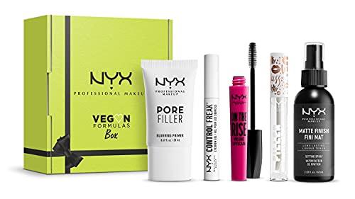 NYX Professional Makeup Set Vegano, Include Primer Pore Filler, Gel per Sopracciglia Control Freak, Mascara On the Rise, Lucidalabbra Volumizzante Filler Instinct, Spray Fissante
