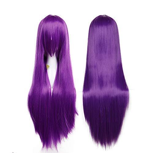 SEGO Parrucca Viola Lunga da Donna Cosplay Halloween con Frangia Capelli Lisci Finti 80cm Wig Purple Parrucche Parrucche per Costume Carnevale Party - Viola Scuro