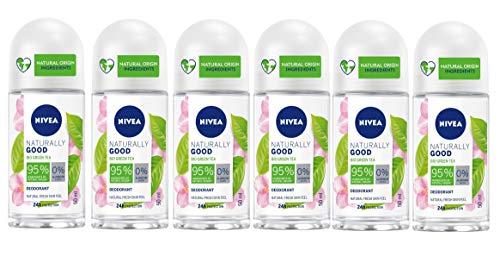 NIVEA Naturally Good Green Tea Deodorante Roll-On in confezione da 6 x 50 ml, Deodorante vegan, Deo roll con estratto di Tè verde Bio, dona alla pelle freschezza duratura