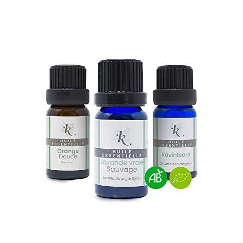 KLARCHA - Trio sonno e antistress - Ravintsara, lavanda e arancia - Oli essenziali biologici - 10 ml x 3 - Confezione per aromaterapia - Benessere e cura