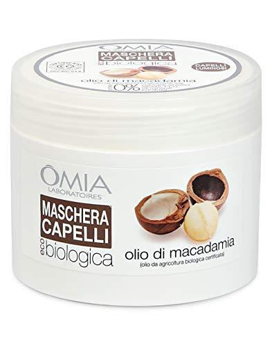Omia Maschera per Capelli Eco Bio con Olio di Macadamia, Trattamento Ristrutturante per Capelli Stressati e Spenti, 250 ml