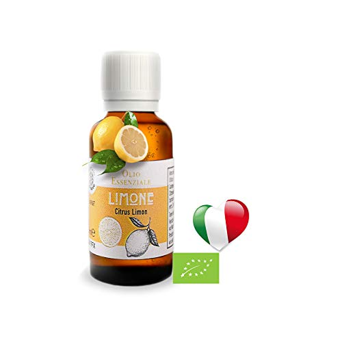 Olio Essenziale Biologico Limone Di Sicilia Uso Alimentare (30 ML) PRODOTTO IN ITALIA,Essenza Naturale, Olii Per Diffusori,Puro,Profumo Per Diffusore, Diffusori A ultrasuoni, Umidificatore Ambienti