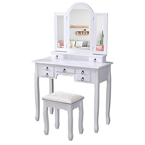 Albatros Tavolo per Trucco di Design Zara, Bianco, con Sgabello, Specchio orientabile, Nuovo Modello con 7 cassetti, Tavolo per Make-up