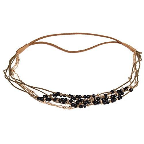 Justfox, fascia per capelli Boheme, con perline colorate e catenina dorata, in diversi colori, colore: Nero , cod. 3837