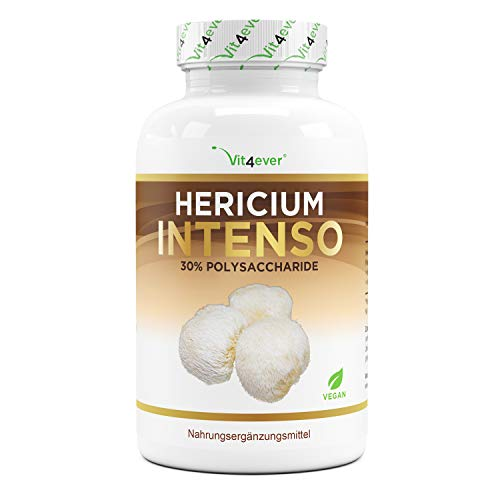 Fungo Hericium Erinaceus - 1300 mg per dose giornaliera - 120 Capsule - Premium: 30% Polisaccaridi & 5% Beta Glucano - Dose elevata - 100% Estratto di funghi porcini - Vegan