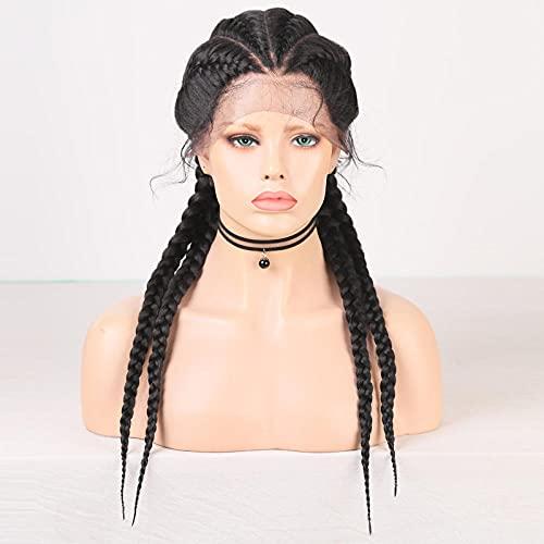 Parrucche lunghe intrecciate Parrucche anteriori in pizzo con trecce Parrucca sintetica con capelli da bambino per parrucca treccia da donna nera-3-24 pollici