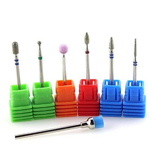 Rayibuir, set di 7 punte da trapano per unghie elettriche, diamantate, per la pulizia, lima di pietra per unghie, accessori per il salone di manicure e pedicure