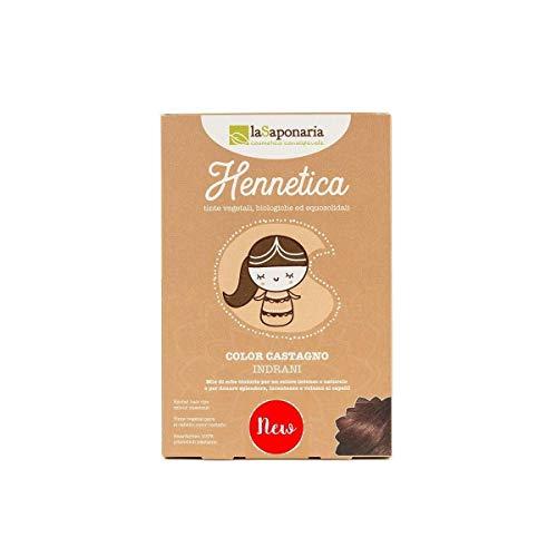 LA SAPONARIA - Hennetica Tinta Vegetale Color Castagno-Indrani Mix di erbe tintorie per un colore intenso e naturale,adatto per i capelli biondi - Effetto volumizzante - Vegano - Equosolidale - 100 gr